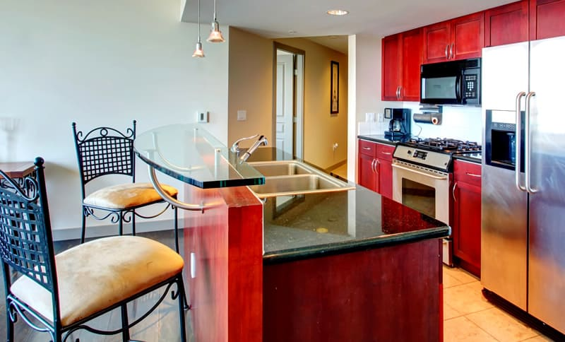 Glass countertop in kitchen