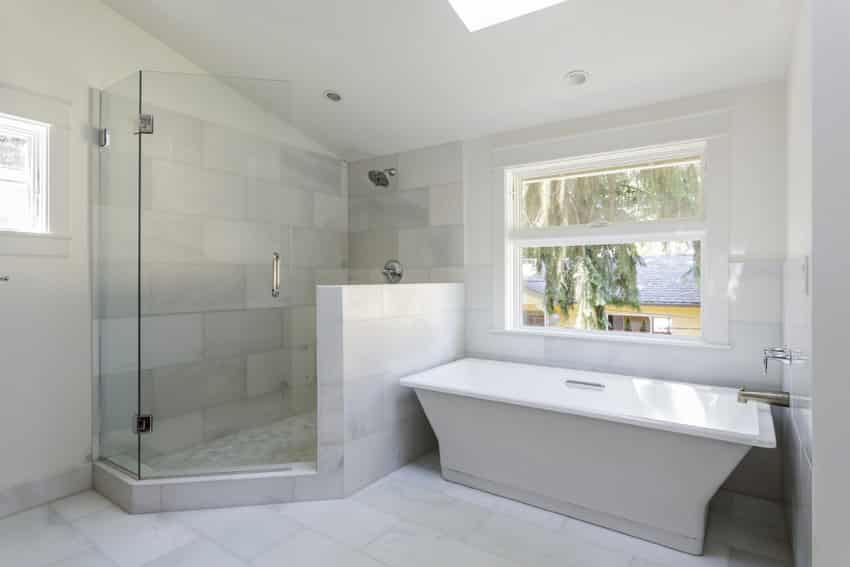 Inviting bathroom with clean white style and large shower