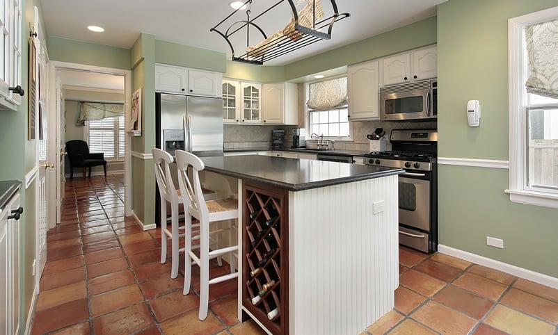 Kitchen with terracotta flooring
