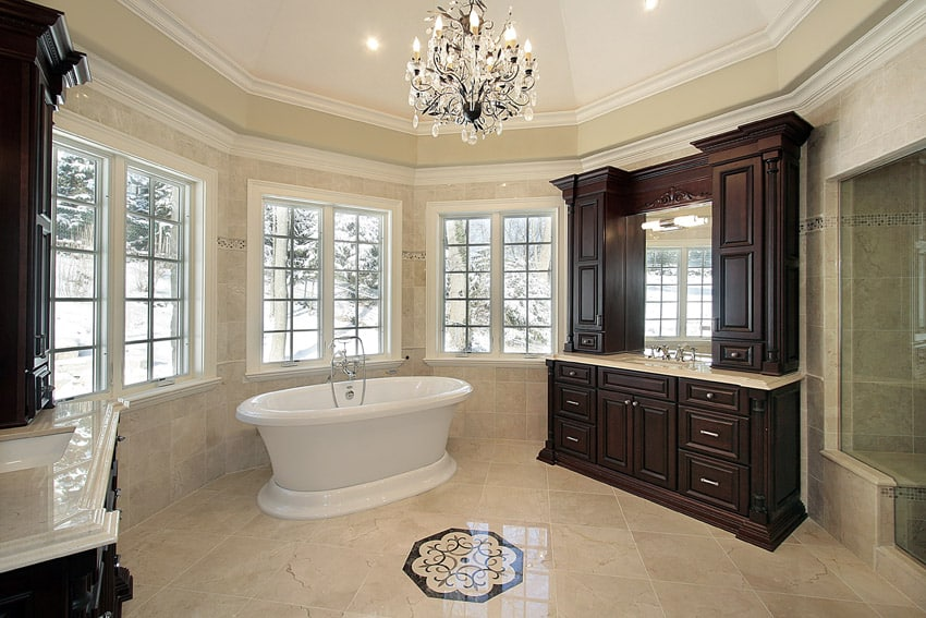 large luxury bathroom suite with wood cabinet