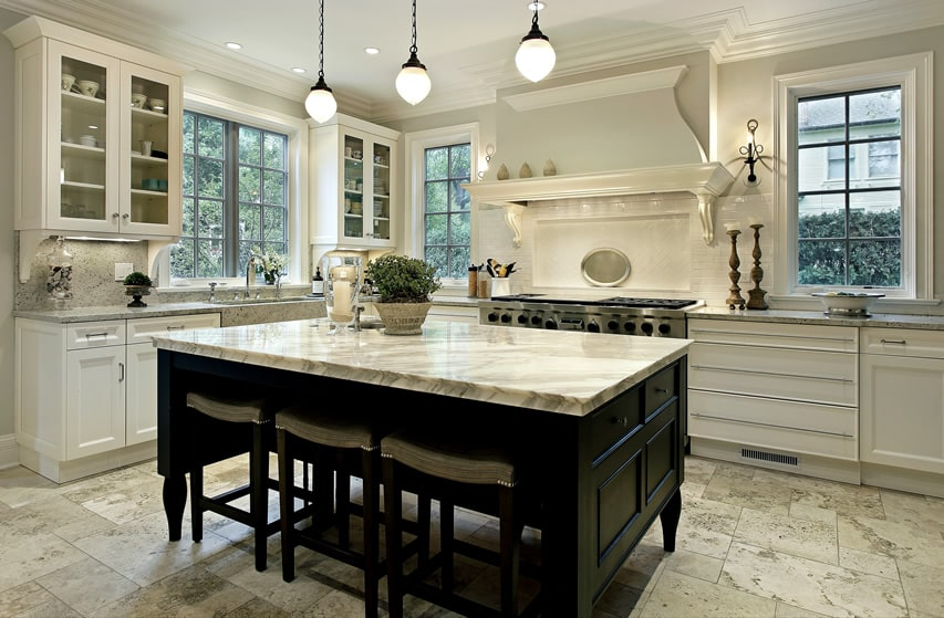 35 beautiful white kitchen designs with pictures designing idea - White kitchen with dark island ...