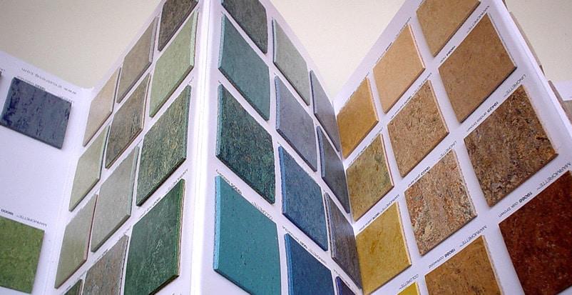 Linoleum samples in store