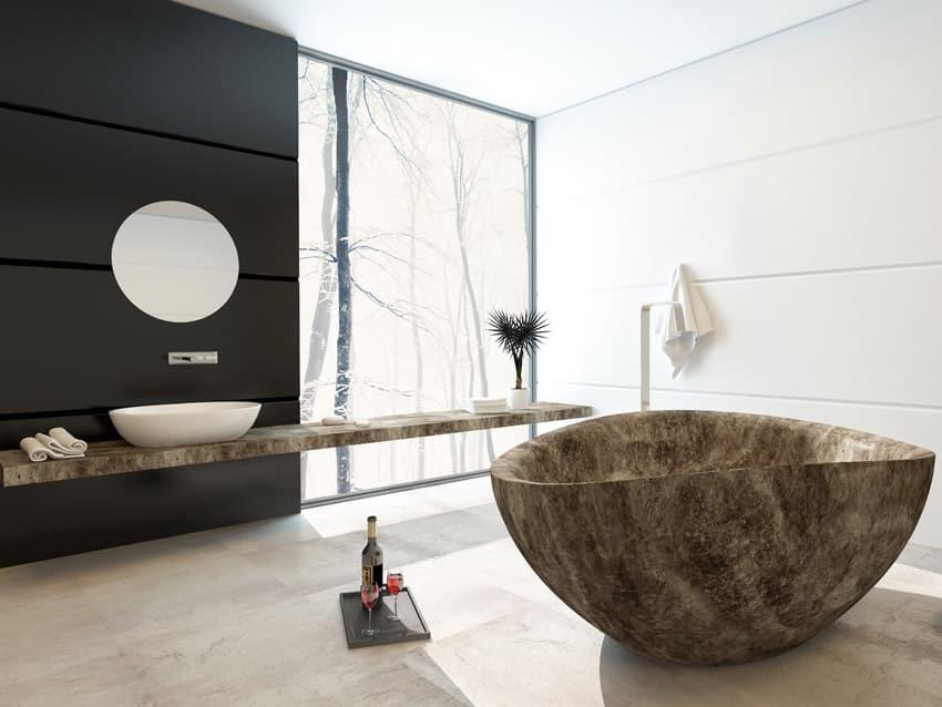 Cultured marble bathtub in modern home
