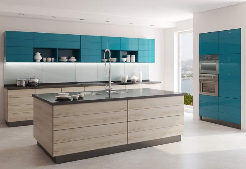Modern kitchen with dark seafoam blue cabinets