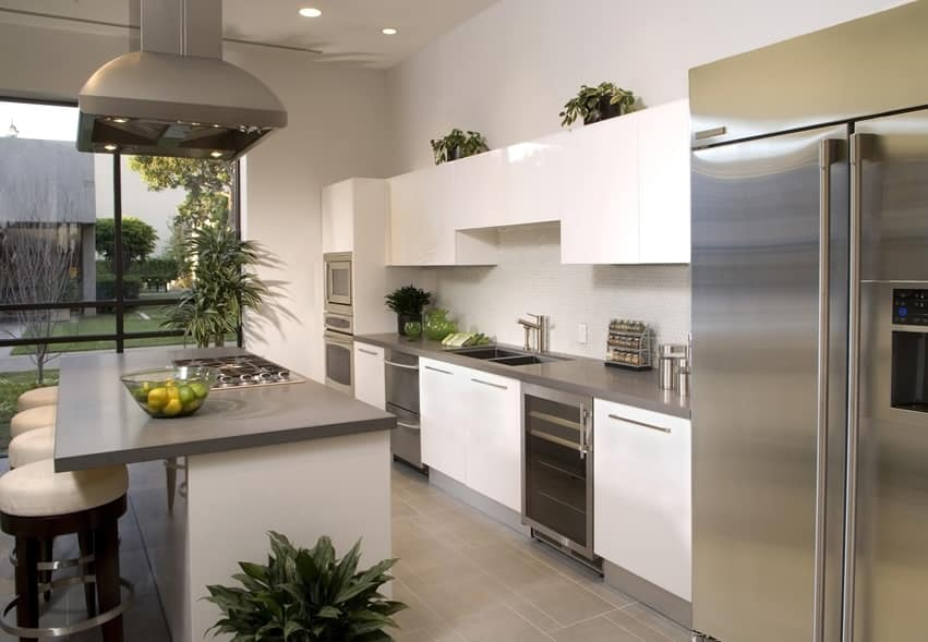 Gray and white modern kitchens new kitchen style for Gray and white kitchen decor