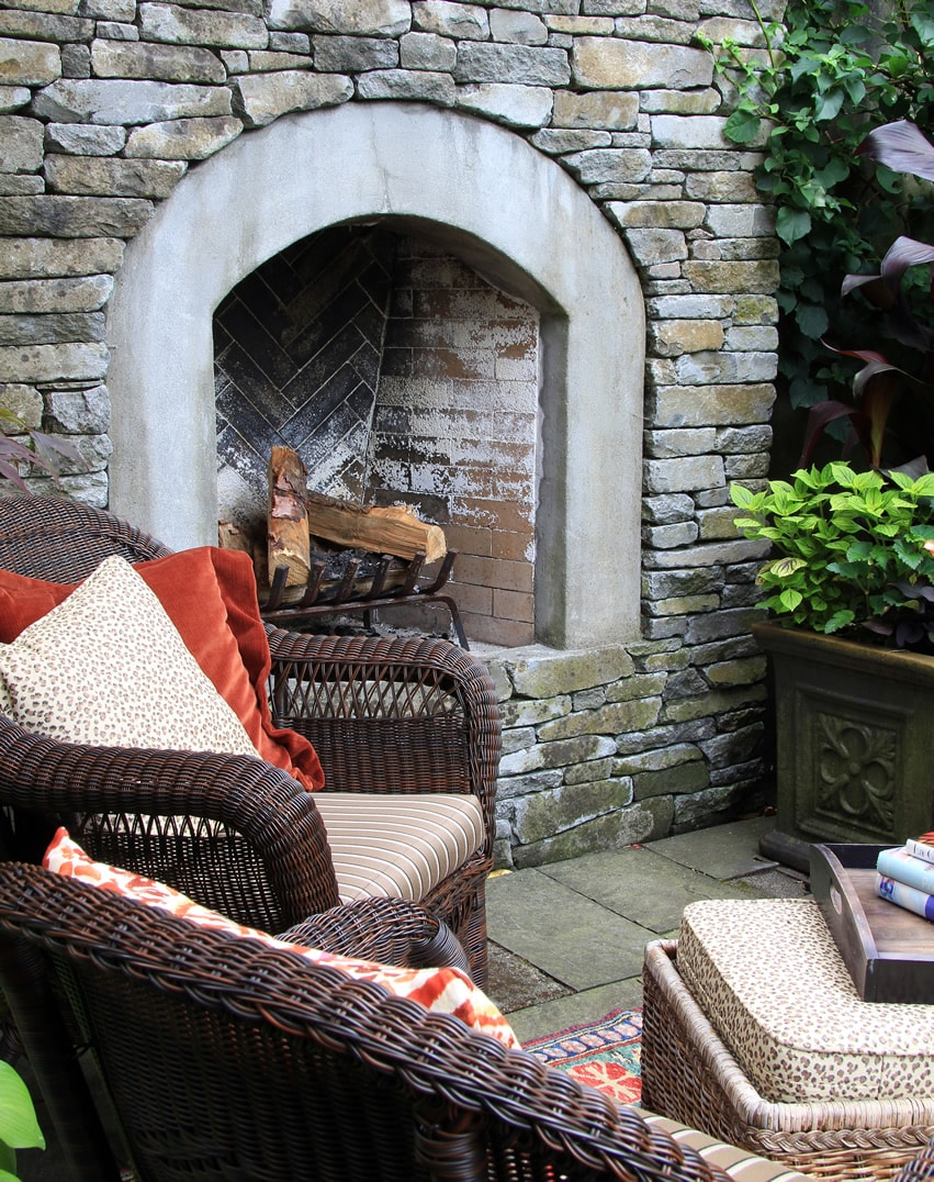 Old outdoor fireplace at home