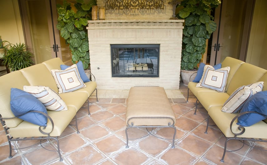 Patio lounge area with fireplace