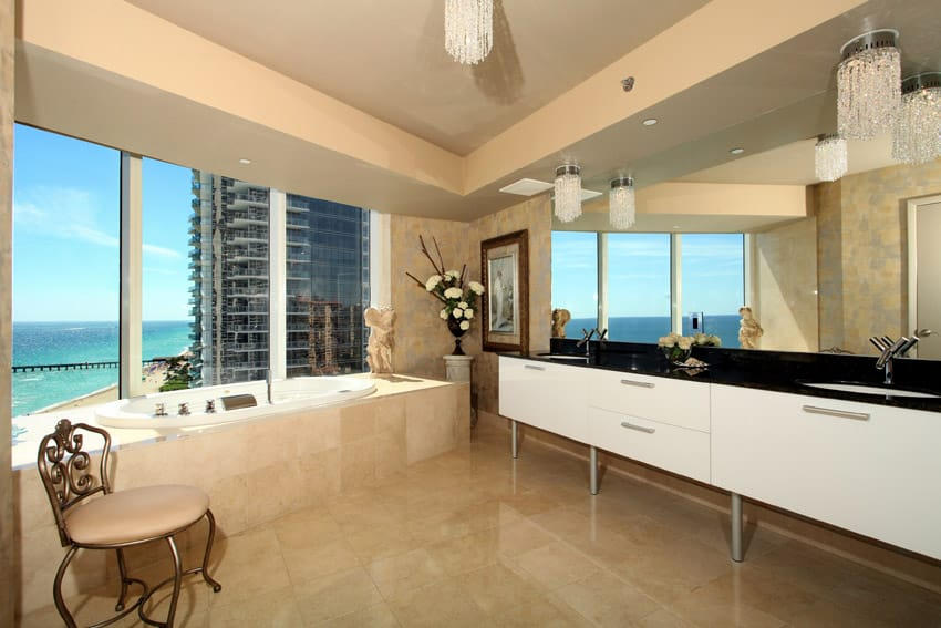 Penthouse bathroom with ocean view