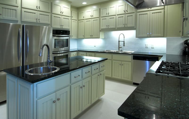 Polished black granite kitchen counter