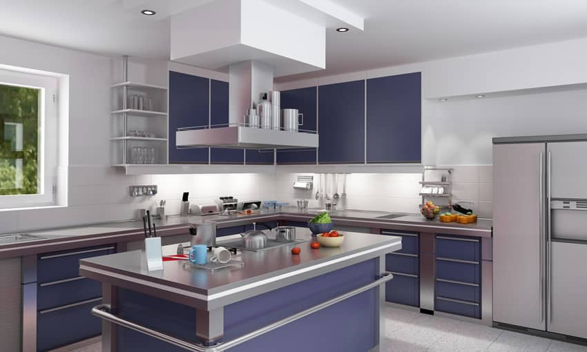 Purple modern kitchen with white back splash and grey counters
