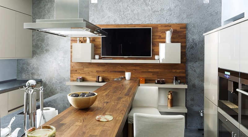 Recycled wood kitchen counter
