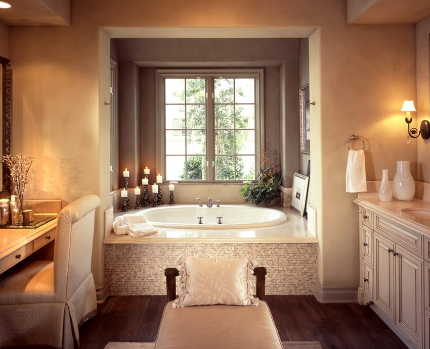 Create a spa bathroom design for the ultimate bathroom for Hardwood floors in bathroom