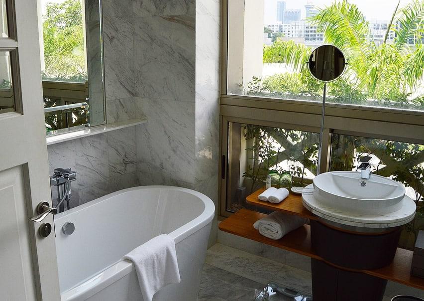 Small bathroom with nice window view