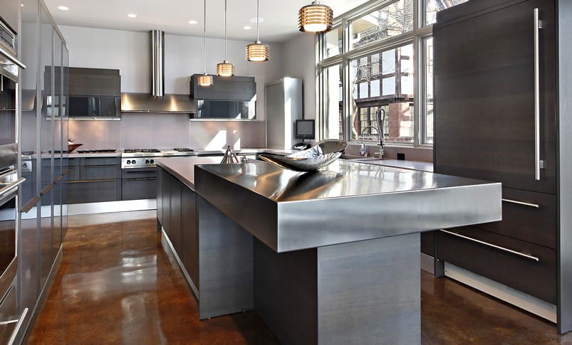 Stainless steel kitchen counter on island