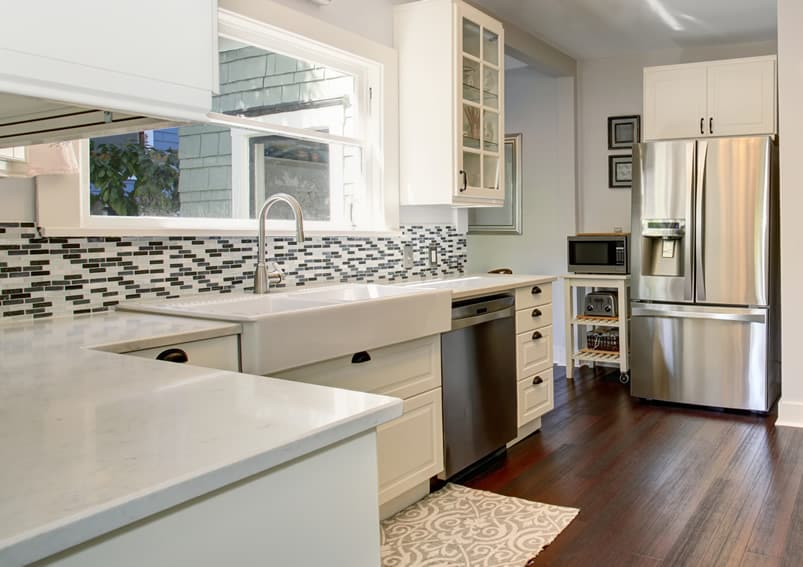 White quartz kitchen countertop