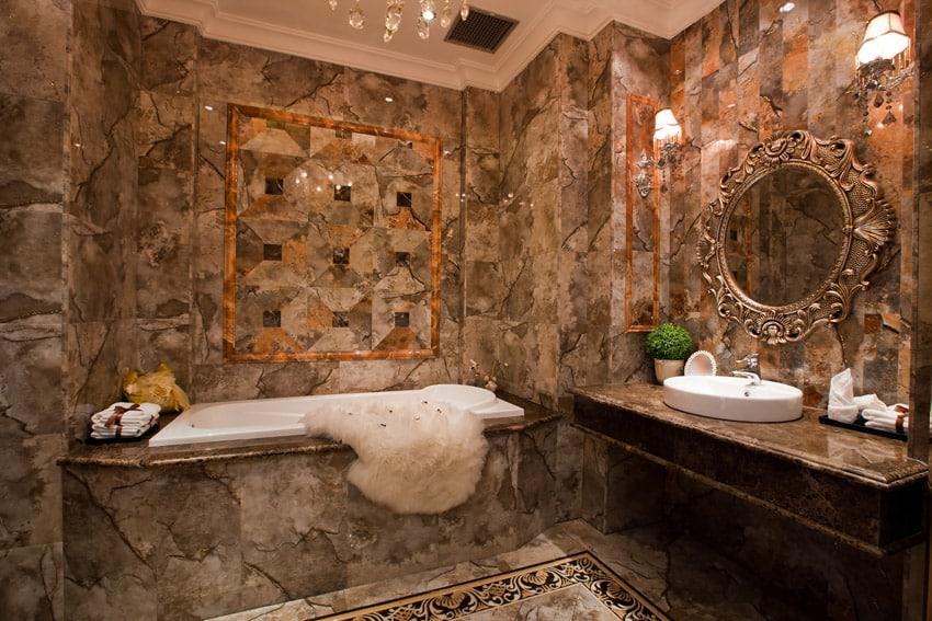 Bathroom with luxury tile brown theme