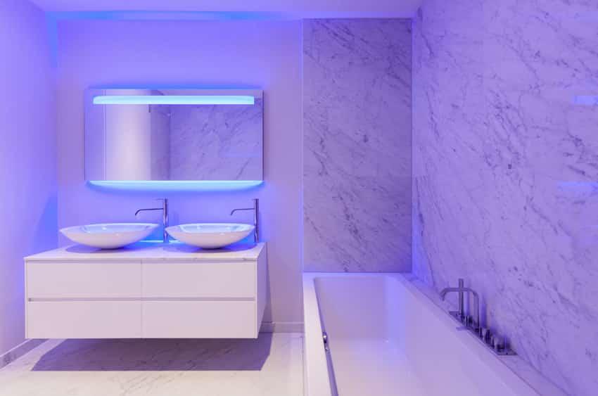 Bathroom with purple neon mood lighting