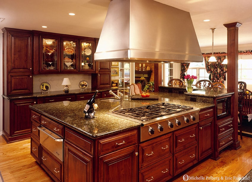 Beautiful stained wood kitchen with massive island