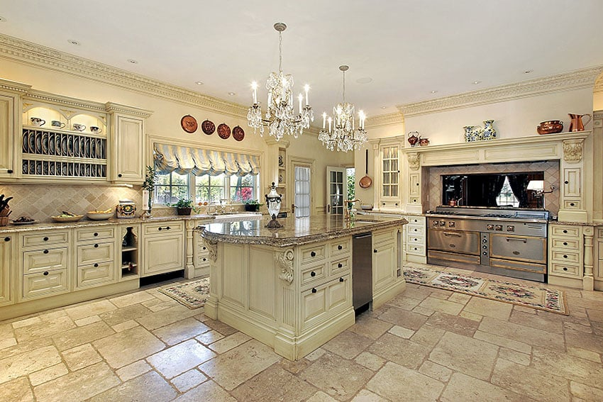 Beautiful cream color luxury kitchen with tile flooring