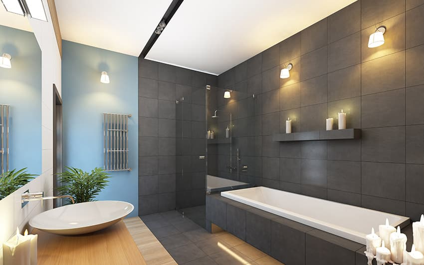 Designing Ideas modern bathroom lighting ideas in exceptional installation for ultra modern bathroom modern design Contemporary Athroom In Grey And Blue Colors