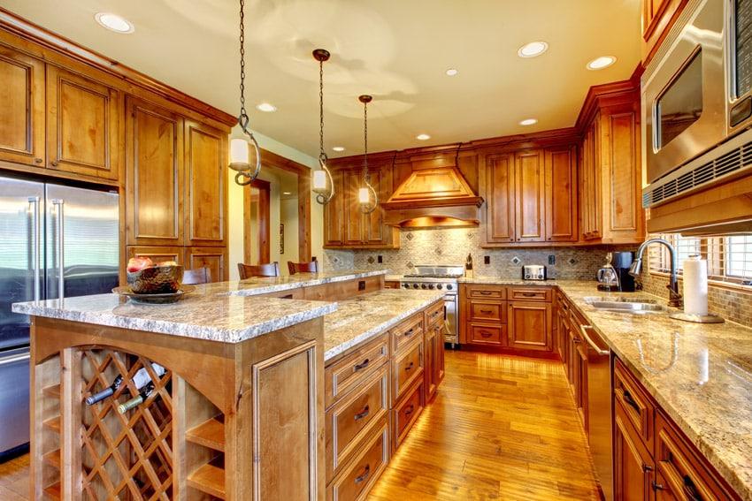 Beautiful style wood kitchen with custom wine rack in island