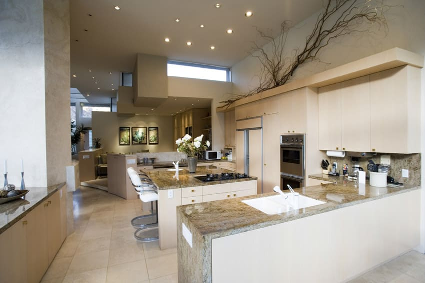 beautiful white kitchen with center eat in dining island spacious eat kitchen