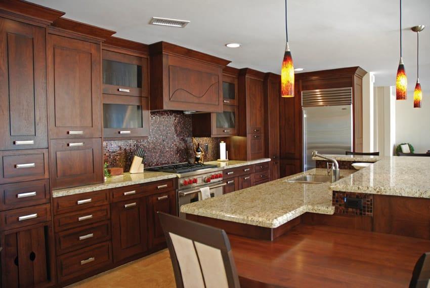 Beautiful wood kitchen design with pendant lights