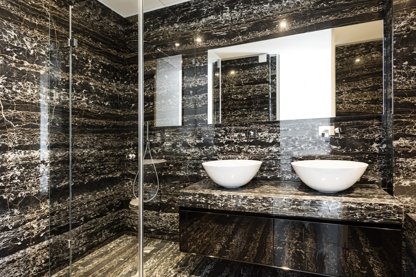 Black and white marble style bathroom