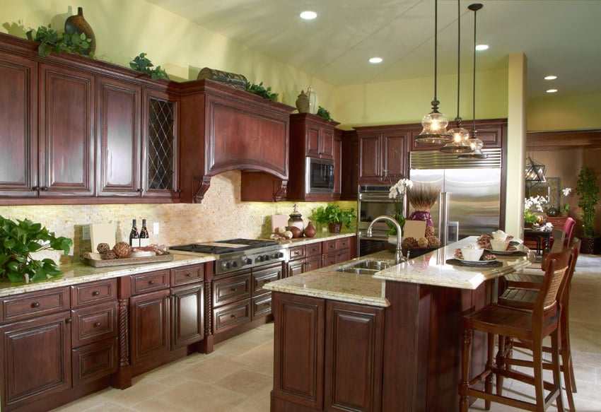 37 high end dark wood kitchens photos designing idea for Cherry wood kitchen cabinets