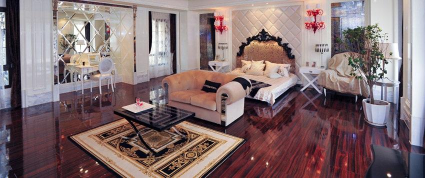 Cherry wood floors in master bedroom
