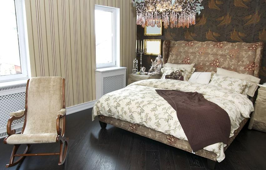 Custom designed master bedroom with chandelier