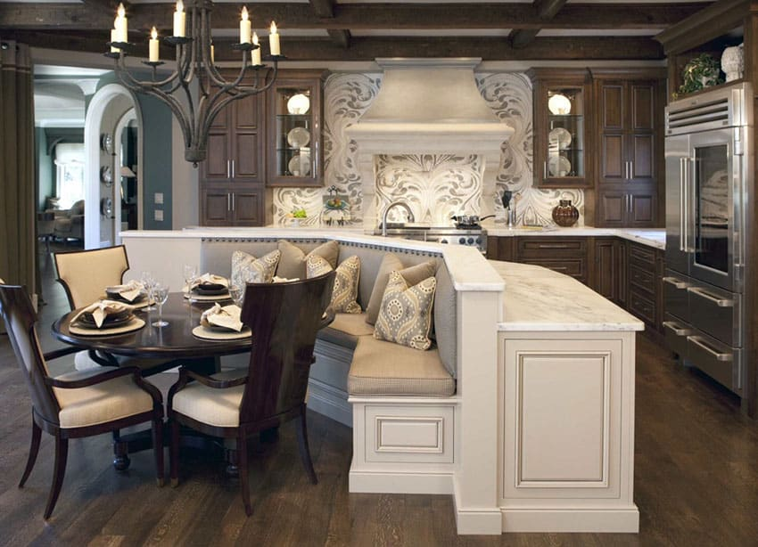 Custom designed wood kitchen with dining nook