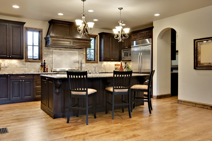 Deep rich wood kitchen cabinetry