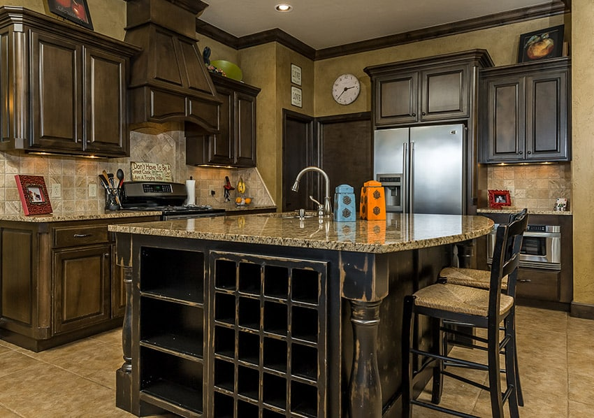 Distressed wood kitchen with square tile back splash