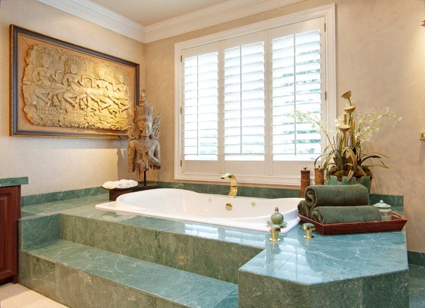 Emerald bathtub enclosure in bathroom