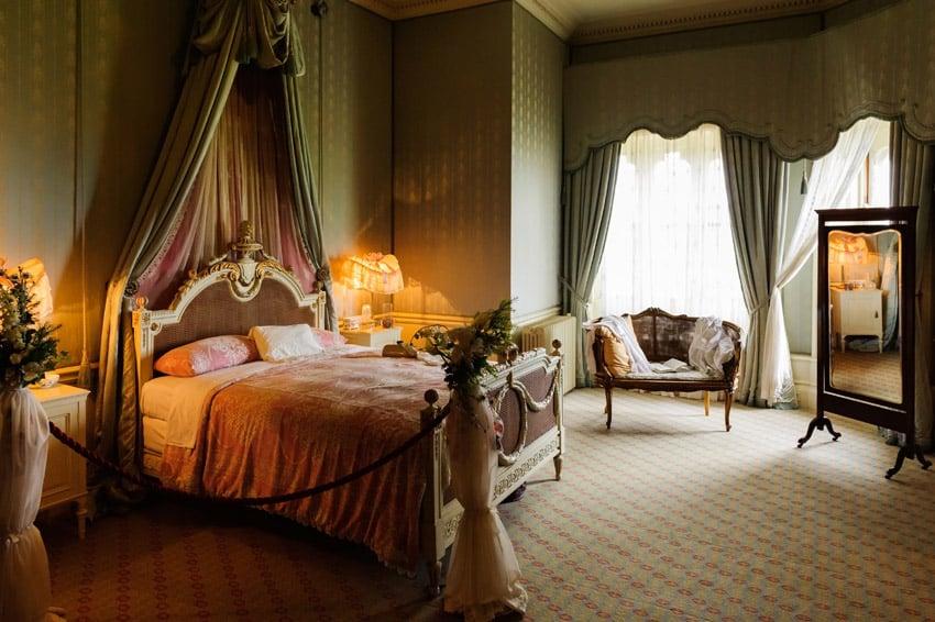 Exotic bed drapery in bedroom