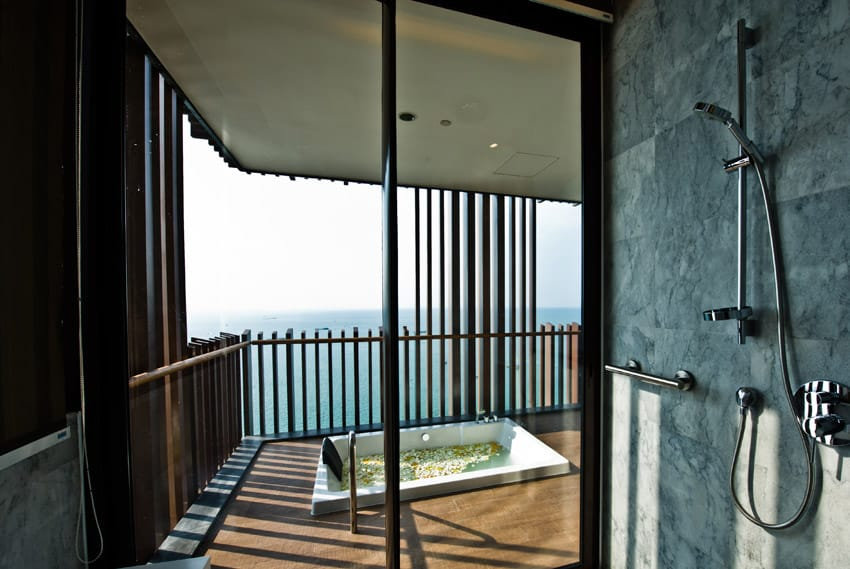 Expansive ocean view from shower