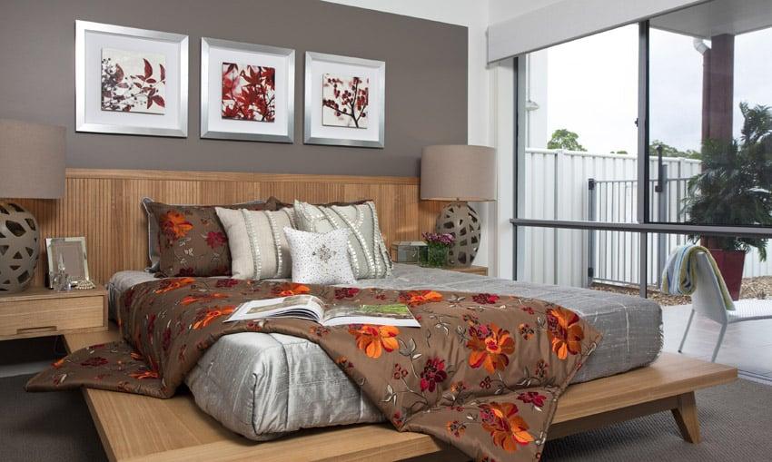 Floral print bedding in master bedroom