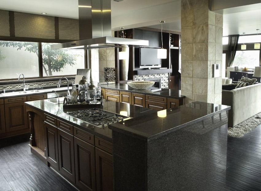 Gorgeous wood cabinet kitchen design with stainless fixtures