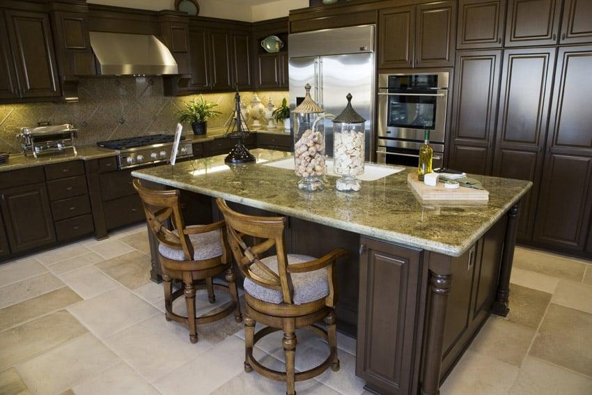 Gorgeous wood kitchen with yellow granite