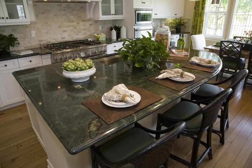 Green granite counter in kitchen