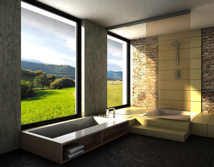 Impressive view from bathroom through picture windows