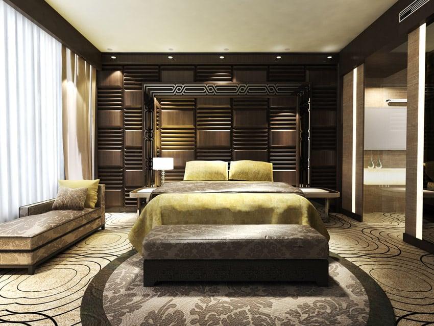 Interesting brown bed headboard