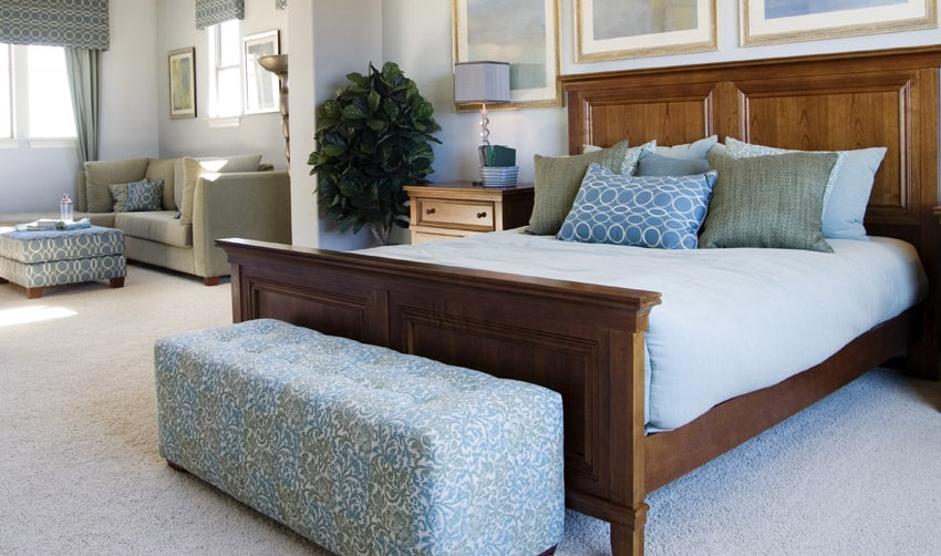 Light blue bedding in master bedroom
