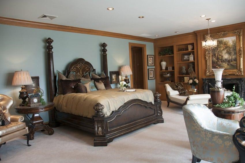 Light blue paint in master bedroom