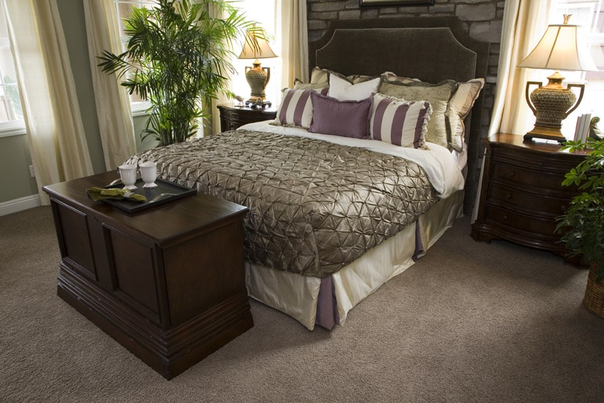 Master bedroom with tan carpet and dark wood furniture