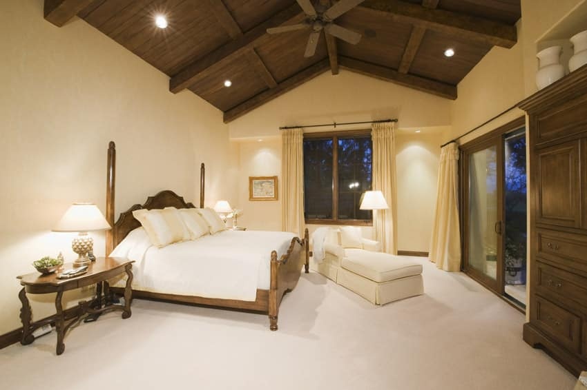 Master bedroom with wooden vaulted ceiling