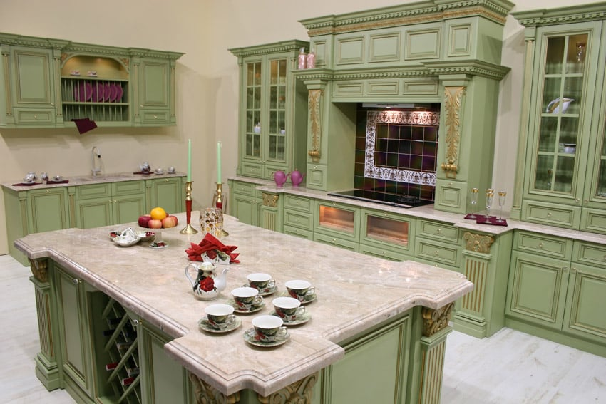 Mint green kitchen with large center island