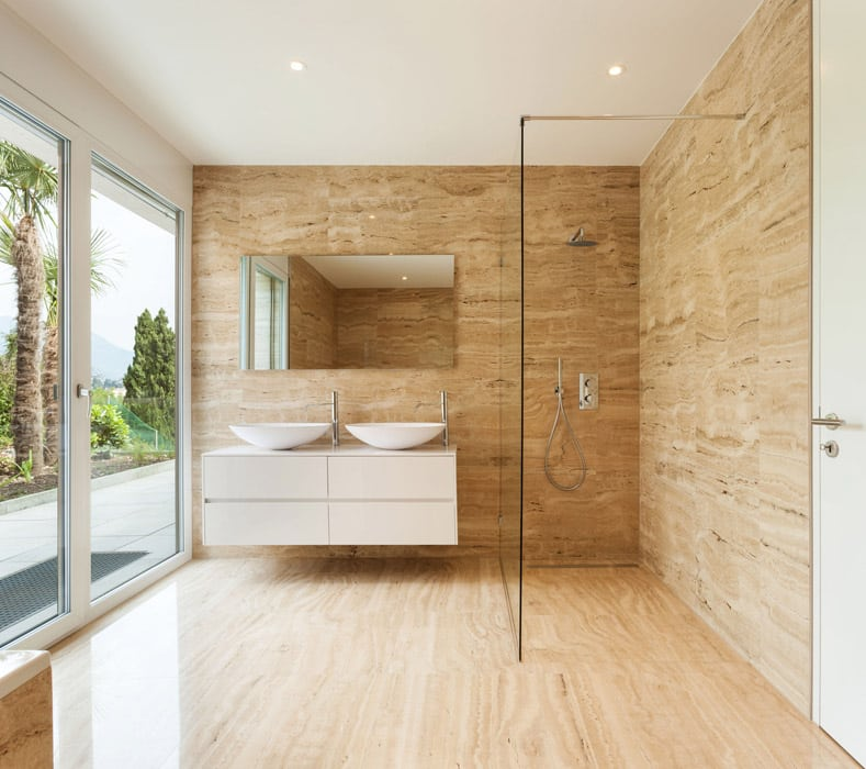 Modern bathroom with large picture window