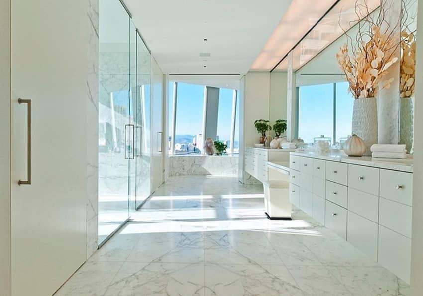 Modern bright white master bath